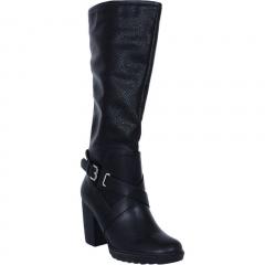 Knee Length High Heel Boots Black 4