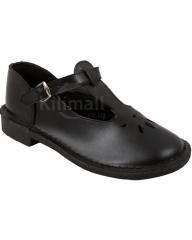 Girls Cut-Out School Shoes - Black 7