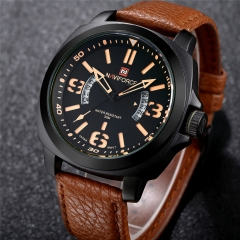 Men Waterproof Calendar Quartz Analog Sports Leather Band Wristwatch Brown