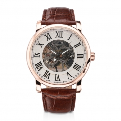 Men Automatic Business Leather Strap Analog Roman Wristwatch 1
