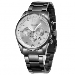 MEGIR 2010 Stylish Stainless Steel Band Watch Men Chronograph Multi-Functional Watch grey