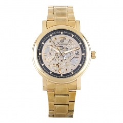 Skeleton Dial Mechanical Sport Dial Wristwatch gold+black