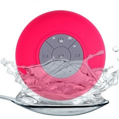 BTS - 06 Water Resistant Shower Bluetooth Speaker with Sucker Support Hands-free Calls Function​ Red 6W One size
