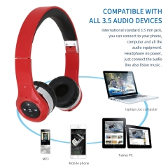 Stretchable & Foldable Wireless Bluetooth Headset Headphone Red