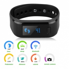 Excelvan OLED Smart Bracelet IP67 Waterproof Bluetooth 4.0 Health for Android IOS Black One size