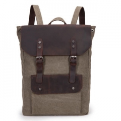 "Backpack New Vintage Fashion Casual Canvas Full Grain Leather BagsFor 15.6"" Laptop For Men Women Khaki one size"