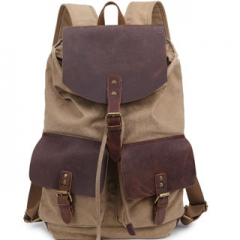 Backpack High Quality Fashion Casual Canvas Crazy Horse Leather Women Men Travel School Backpack Khaki one size