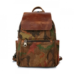 Backpack Leather Canvas Backpack For Men and Women Camouflage Shopping Travel Bags Khaki one size