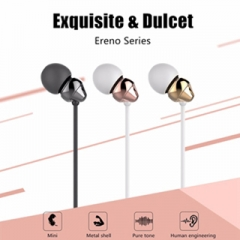 Ultra bass ear listening to music with Stereo Noise microphone stereo headphone ear of mobile phone Black