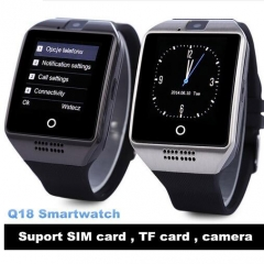 Q18 Smart watch with Touch Screen camera TF card Bluetooth smartwatch for Android IOS Phone black