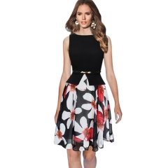 Summer women chiffon large pendulum fake fake two round neck sleeveless dress with belt Black + red flower M