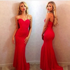 New bride dress dress short before the long paragraph sexy painted red dress red S