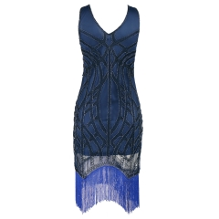 Sexy skirt skirt fringes year beach party short dress blue S