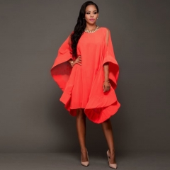 Lanterns loose leaf sleeves loose dress red S
