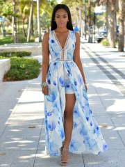 Printing deep V dress blue S