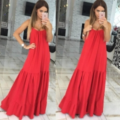 Sling with solid color pendulum dress red S