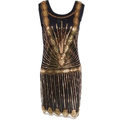 Handmade beaded short dress gold S