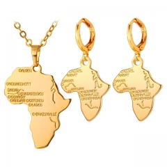 African Map Jewellery Sets 18k Real Gold/Platinum Plated Necklace Earrings Sets gold plated one size
