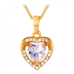 Heart Crstal Pendant Necklace Yellow Gold/Platinum Plated Cubic Zirconia Women Jewellery 18k gold plated length size:50+5cm