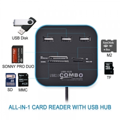 Newest Multifuntional Card Reader-USB Hub 2.0 480Mbps USB -All In One Multi USB Splitter blue For PC Laptop Portable