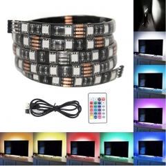 TV Background Lighting-USB Powered 5V RGB LED Strip light Tape For TV With Remote Controller colorful 1m