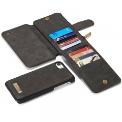 For Samsung /Iphone - Genuine Leather Multi Functional Wallet Phone Cover black samsung s8