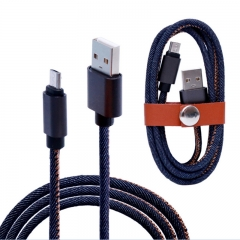 1m 2A Jean Cloth Fast Charging Data USB Cable For Android Phones
