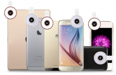 6 In1LED Flash Light With Fisheye Lens Macro Wide angle Selfie Fill-in light Clip-on For iPhone rose golden one size no