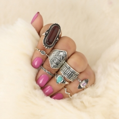 Retro folk wind exaggerated texture pine stone gem personality suit suit ring Ancient silver ruby free size