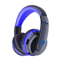 Wireless Headphones Bluetooth 4.0 Headset with Microphone over the Ear Handsfree Headband Support FM blue