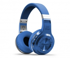 Bluedio H+ foldable over the ear bluetooth head phones BT 4.1 FM radio SD card blue