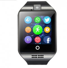 Free shipping Passometer Smart watch with Touch Screen camera TF card Bluetooth smartwatch black