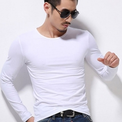 Men O-neck Long Sleeve Casual T-shirt white s