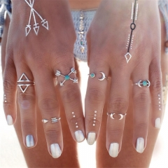 6PCS Vintage Boho Midi Finger Ring Knuckle Charm Jewellery silver color one size