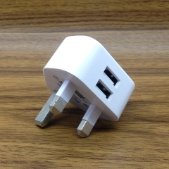 Copper 5V2.1A Double USB Charger British Standard  Plug Adapter Smart Mobile Phone Charger white 2.1A 5V
