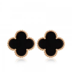 Lucky Clover Earrings Ear Stud Lady Jewelry Fashion Rose gold Lucky clover