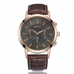 Brand Leather Classic Black Dial Fashion Men Watches Casual Bussiness Men Quartz Luxury 1