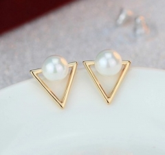 Jewellery Vintage  Triangle imitation pearl  earrings Women  gold one size golden one size