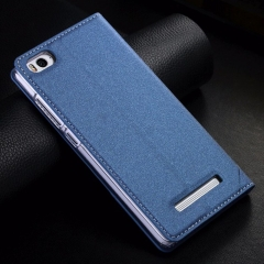 Leather Stand Flip Cover Magnet Case For Xiaomi Mi4c Original  Phone Cases blue normal