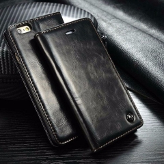 Luxury Coque For Flip Cover Apple iPhone 5s 5 6 6s 7 7 plus Case Genuine Real Leather black iphone 6