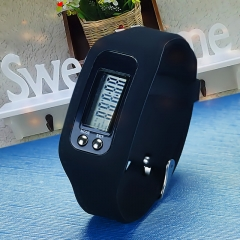 LCD Waterproof Pedometer Watch Fashion Movement Cali Road Silica gel electronic Hand ring table black