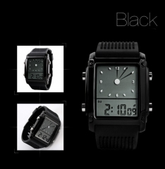 Movement Fashion Trend Colorful Big Screen digital Watch Multifunction Colorful lights Student Watch black