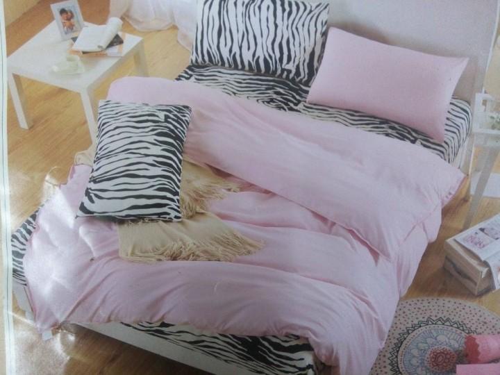 Four Piece High Quality Zebra  Print  Cotton Duvet Cover Sets Multicolor 6*6