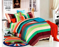 4Pcs Bedding Sets High quality thick 100% cotton (1 Duvet cover+1 Bed sheet+2 Pillow covers) Multicolor 6*6