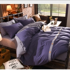 4Pcs Bedding Set(1 Duvet cover+1 Bed sheet+2 Pillow covers) Fashion Button Double Pure Color Cotton double color 5*6