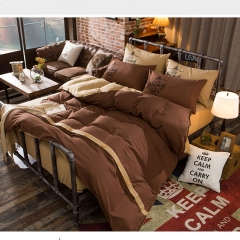4Pcs Bedding Set (1 Duvet cover+1 Bed sheet+2 Pillow covers)Fashion Button Double Pure Color Cotton double color 5*6