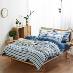 4Pcs Bedding Set (1 Duvet cover+1 Bed sheet+2 Pillow covers)  Washed Padding Cotton Skin-Friendly color as picture 6*6
