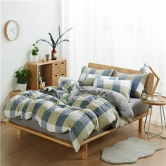 4Pcs Bedding Set  (1 Duvet cover+1 Bed sheet+2 Pillow covers) Washed Padding Cotton Skin-Friendly color as picture 5*6