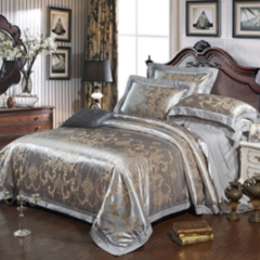Bedding Set (1 Duvet cover+1 Bed sheet+2 Pillow covers) 100% Cotton Satin Jacquard Weave Silk color as picture 6*6