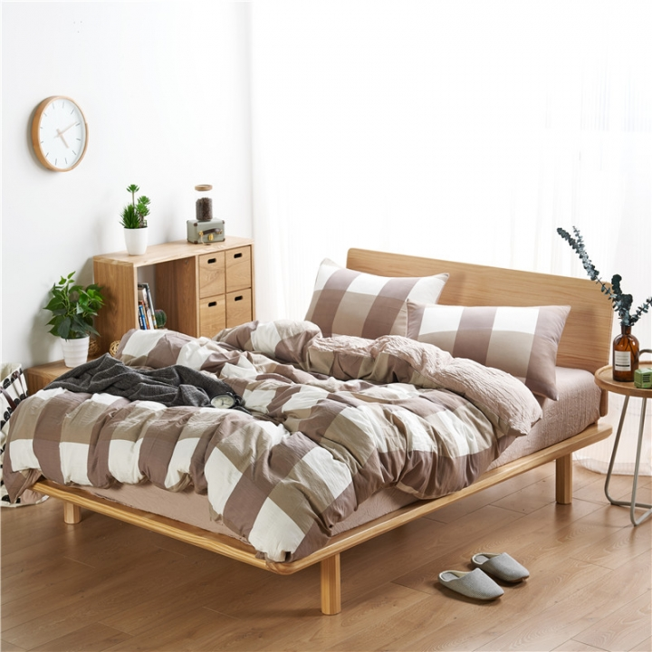 4Pcs Bedding Set (1 Duvet cover+1 Bed sheet+2 Pillow covers)Washed Padding Cotton Skin-Friendly color as picture 6*6